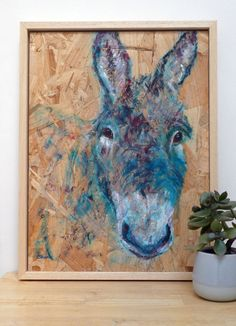 Happy Donkey acrylic painting. This teal blue painting of a happy donkey is inspired by a visit to the Donkey Sanctuary in Sidmouth, Devon, where rescued and abused donkeys are given the chance to have a better life. This painting supports the Donkey Sanctuary's work. See below for more information Farm Animals, Animals And Pets, Wood Source, Blue Home Decor, The Donkey, Artwork Online, Blue Painting, Farm Yard, Animal Paintings