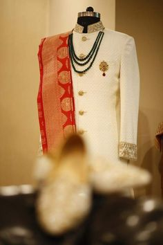 Groom dress for wedding Normally, it's believed ladies are more conscious, worried and careful about their big day dress choices. Sherwani For Men Wedding, Wedding Dresses Men Indian, Wedding Outfits For Groom, Groom Wedding Dress, Sherwani Groom, Groom Dress, Punjabi Wedding, Indian Weddings, Wedding Suits