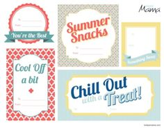 Free printables for summer treats
