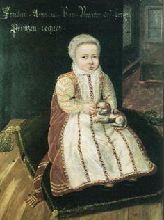 Daniël van den Queborn,  Emilia Antwerpiana van Nassau (1581-1657) holding a puppy, 1582 - Siegerlandmuseum