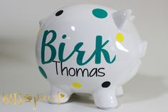 Personalized Piggy Bank - Baby - Newborn - Nursery - Baby Shower - Birthday Present - Christmas Gift Birthday Gifts For Kids, Gifts For Girls, Birthday Presents, Girl Gifts, Baby Gifts, Newborn Nursery, Baby Newborn, Personalized Piggy Bank, Team Gifts