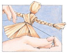 Here's how to make a cornhusk doll from The Old Farmer's Almanac.