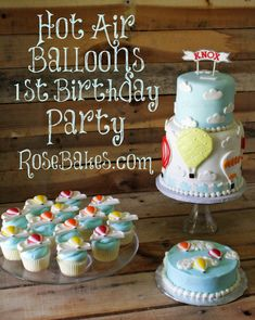 Hot Air Balloons Cake, Smash Cake and Cupcakes. Click over to get all the details about this Hot Air Balloon Party! Balloon Birthday Cakes, Balloon Cupcakes, Cupcake Cakes, Balloon Party, Balloon Ideas, Cake Smash, Cake Pops, Hot Air Balloon Cake, Air Ballon