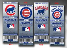 Chicago Cubs Invitation, Cubs Birthday Invitations, Tickets Party Printables, Baseball Ticket