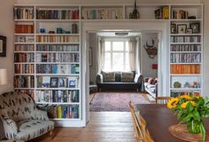 UK Victorian Full of Art & Vintage Style Ahh - the elusive cosy but not cluttered: Diana & Dominic's Art-filled Victorian — House Tour Bookshelf Design, Bookshelves Built In, Book Shelves, Bookshelf Styling, Bookcases, Bookshelf Wall, Bookcase Organization, Storage Shelving, Built Ins