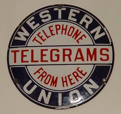 Western Union sign Telephone Sign Porcelain sign Hubcap in Collectibles, Advertising, Communication & Utilities, Telegraph & Telegram Vintage Advertisements, Vintage Ads, Old Gas Stations, Porcelain Signs, Vintage Telephone, Retro Logos, Western Union, Old Signs, Old Ads