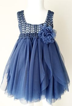 Indigo Blue Empire Waist Baby Tulle Dress with Stretch Crochet Top.Tulle dress for girls with lacy crochet bodice. Indigo Blue Empire Waist Baby Tulle Dress with Stretch Crochet Crochet Girls, Crochet For Kids, Crochet Baby, Crochet Toddler, Crochet Yoke, Crochet Poncho, Crochet Doilies, Little Girl Dresses, Girls Dresses