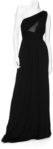 Robert Rodriguez Pleated Bodice One Shoulder Long Dress in Black