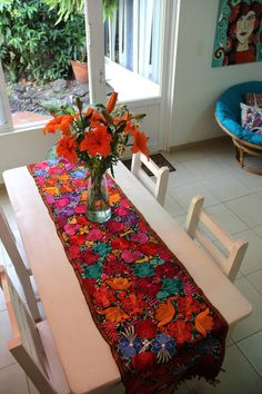 Perfect Embroidered Floral Table Runner Wine | Handwoven Table Runners U0026 Placemats  (Handmade) | Pinterest | Table Runners, Mexican Style And Mexicans
