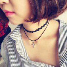 Колье, ожерелья из Китая :: Волна Корея ювелирные изделия Крест двойной кулон…