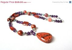 ON SALE Purple and orange gemstone statement necklace - amethyst & mexican fire agate pendant necklace - spring accessories by Sparkle City