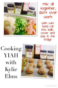 YIAH Asian Inspired Meatballs  www.kylieelms.yourinspirationathome.com.au • 500gms chicken mince • 3 shallots sliced finely, white and green – top to bottom  • 1 tbsp YIAH Chinese Five Spice Blend • 1 tbsp YIAH Asian Stir Fry Spice Blend • a good pinch of YIAH Lime and Cracked Pepper Sea Salt  • 1 egg • 1 cup panko breadcrumbs  • 2 tbsps low salt soy sauce • 1 tsp sesame oil • 1 tbsp YIAH Wild Lime Olive Oil Blend Mix all together and refrigerate until ready to cook ....