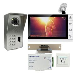 Free Shipping Fingerprint Code Keypad 9 Monitor Video Door Phone Intercom System Waterproof Outdoor