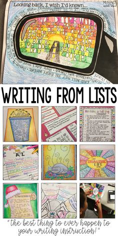Art therapy activities writing List writing is sure to motivate even your most reluctant writers! 5th Grade Writing, Middle School Writing, Writing Classes, Middle School English, Writing Lessons, Writing Workshop, Writing Process, Poetry Lessons, Art Lessons