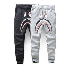 c48852b23908 Harajuku Brand Gym Harem jogging pants Mens Sports Joggers Hip hop  Streetwear Sweatpants Fleece Bape Shark