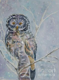 Great Gray Owl On A Snowy Day by Ellen Levinson #greatgrayowl #owllovers #grayowl #greyowl #owlart #artprintsforsale #throwpillows #snowyday #watercolorpaintings #mixedmedia