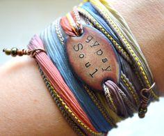 GYPSY SOUL... Boho Silk Wrap Bracelet- Silk Ribbon Bracelet- Wrap bracelet Yoga wrap- gypsy bracelet- Indie- Hippie-boho jewelry on Etsy, $31.37 CAD