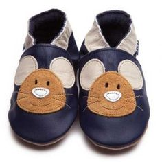 Squeak Navy Inch Blue Shoes - Soft Handmade Leather Baby Shoes