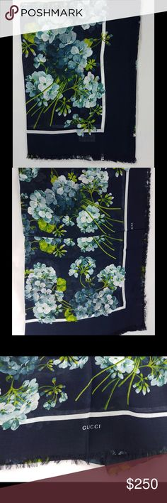 """Gucci Blooms Shawl The Blooms print was first presented throughout the Fall/Winter 2015 Fashion Show collection and has continued to evolve as an iconic Gucci design.  Blue and light blue Blooms print Fringe edges 55""""W x 55""""L 85% modal and 15% silk Made in Italy Gucci Accessories Scarves & Wraps"""