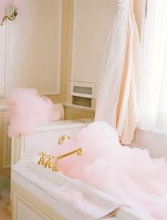 Homemade pink bubble bath.