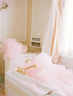 Homemade pink bubble bath.