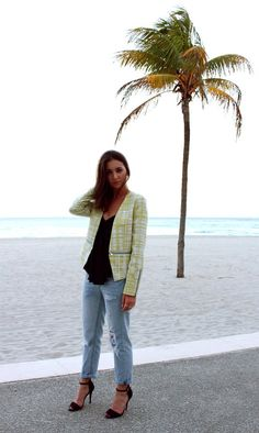 Check out Colby Milano in our Marlon Jacket. Who says you can't wear heels and a bright jacket to the beach? #walterbaker