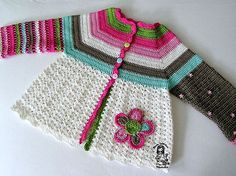 Crocheted flower cardigan