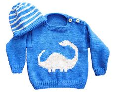 Baby Dinosaur Sweater and Hat, Aran Sweater and Hat Diplodocus, Baby Jumper and Hat set, Baby worsted knitting pattern, 10 ply yarn