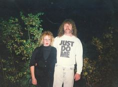 """""""This is a photo of my Ma and Pop out on a date in the '80s. My mom must have followed the instructions on my father's shirt, because 9 months later I was born!"""" (submitted by Cleitus)"""