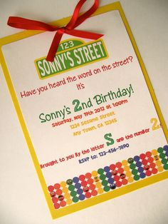 Sesame Street Birthday Party Handmade Invitation. $55.50, via Etsy.