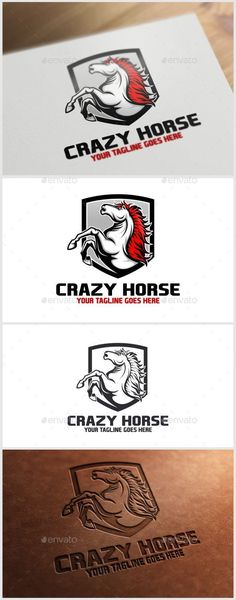Crazy Horse Logo Template by VectorCrow Logo template suitable for businesses and product names. Easy to edit, change size, color and text. CMYK Ai, and EPS formats fully