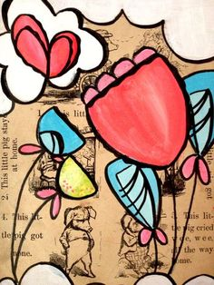 great idea for mixed media and love the imaginary flowers!