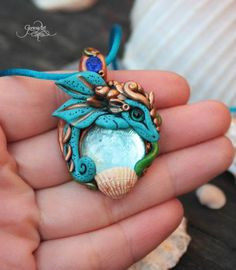 Sea Dragon Pendant - dragon necklace - dragon jewelry - amulet - baby dragon necklace - blue fantasy - starfish - seashell - water dragon - fimo art - hadmade - polymer clay - by GloriosaArt