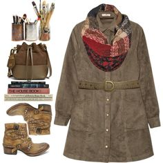 A fashion look from October 2015 featuring a line dress, short boots and bucket bag. Browse and shop related looks.