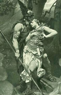 """In the Icelandic version of the legend, Brunhilde was a Valkyrie—a warrior maiden of the supreme god Odin. Because she was disobedient, Odin punished Brunhilde by causing her to fall into everlasting sleep surrounded by a wall of fire. The hero Sigurd crossed through the flames and woke the maiden with a kiss. They became engaged, but Sigurd left to continue his travels. Later, after receiving a magic potion to make him forget his love for Brunhilde, Sigurd married Gudrun"""