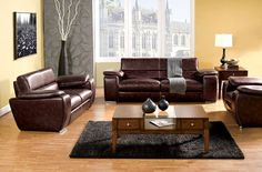 A.M.B. Furniture & Design :: Living room furniture :: Sofas and Sets :: Leather Sofa sets :: c. Dinar Rustic Brown Contemporary Style Leatherette sofa and love seat set with Plush Cushions and Large Wide Arms