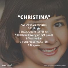 """""""Christina""""+WOD - AMRAP in 20 minutes: 9 Pull-ups; 9 Squat Cleans (95/65 lbs); 9 Kettlebell Swings (1.5/1 pood); 9 Toes-to-Bar; 9 Push Press (95/65 lbs); 9 Burpees"""