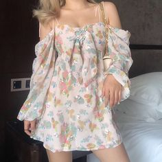 Love buckle decorative printed halter square collar long sleeve dress · FE CLOTHING · Online Store Powered by Storenvy Pretty Outfits, Pretty Dresses, Cute Outfits, Girly Outfits, Aesthetic Fashion, Aesthetic Clothes, Mode Ulzzang, Mode Chanel, Facon
