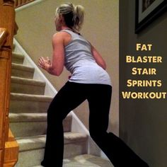 A Super Fast, Fat Blasting Stair Sprint Workout. All you need is a set of stairs and a few minutes to feel the burn in this killer home workout!
