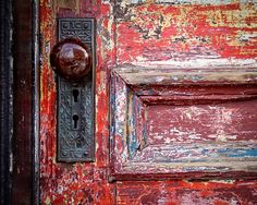 Red Door Doorknob Urban Decay Weathered by ShadetreePhotography