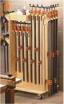 Woodworking Shop 13 Free Clamp Storage Plans: Space Savers, Mobile Clamp Carts, Pipe Clamp Racks and MORE! Workshop Storage, Workshop Organization, Diy Workshop, Woodworking Clamps, Woodworking Workshop, Woodworking Projects, Woodworking Quotes, Welding Projects, Lumber Storage