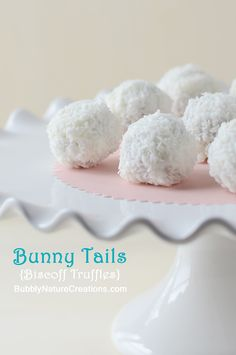 Bunny Tails! {Biscoff Truffles}  These are super cute!  The truffles are made from Biscoff cookies, Biscoff spread, cream cheese,  and coated with a crunchy coconut topping.  They are so delicious and keep for a few days.  Make them ahead of time for an Easter dessert!