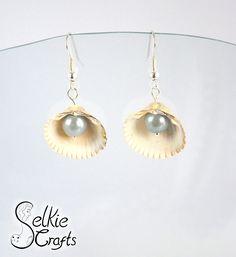 Shell earrings, pearl earrings, grey pearl, white shell, seaside, mermaid, beach earrings. Jewellery (jewelry) handmade in Scotland by Selkie Crafts.