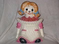 Raggedy Ann vintage cookie jar Japan rare pink dress | eBay
