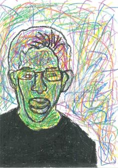 do a blind contour drawing in black texter and fill with scribbly colour lines  yr 7-9