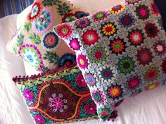 Stitched and knitted decorative pillows #Anthropologie #PinToWIn Looks like my Grandmothers afgans.