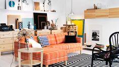 Säilytyskalusteita ja 2:n istuttava KARLSTAD-sohva ja -divaani