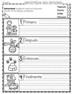 Práctica de secuencias con dibujos - PRIMAVERA Dual Language Classroom, Bilingual Classroom, Bilingual Education, Spanish Classroom, Elementary Spanish, Teaching Spanish, Elementary Schools, Writing Strategies, Writing Activities