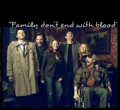 "Sam, Dean, Castiel, Bobby, Ellen and Jo ~ Supernatural ""Family don't end with blood."" Album Cover photo"