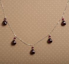 Garnet Necklace, January Birthstone Necklace, Red Gemstone Necklace, Garnet Silver Chain Necklace